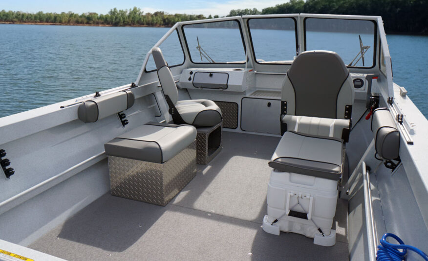 "Dress it up with an oversized bow fish box, livewell, 25"" transom, high pressure wash down and audio package for plenty of playfulness, plenty of fishability."