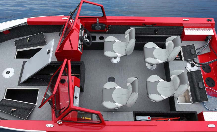 7' cockpit, removable Pro Angler seats, rear mounted re-circulating aerated livewell system with timer, locking side rod storage, rod storage for 11 7' rods, welded walk-thru windshield. Bring it on.