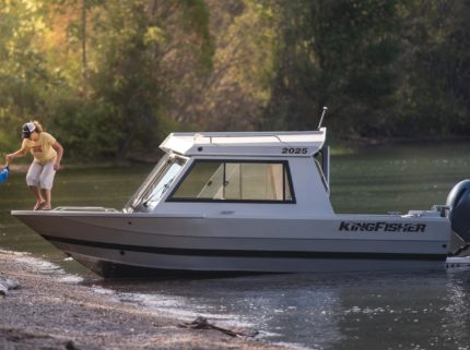 Our welded aluminum hard top with weather tight walk-thru windshield allows comfortable cruising and easy beach access