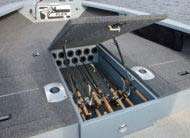 Conveniently store up to 11 rods in the bow locker up to 7' in length.