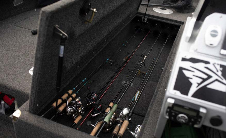 "Center bow locking rod storage for up to 11 9'3"" rods"