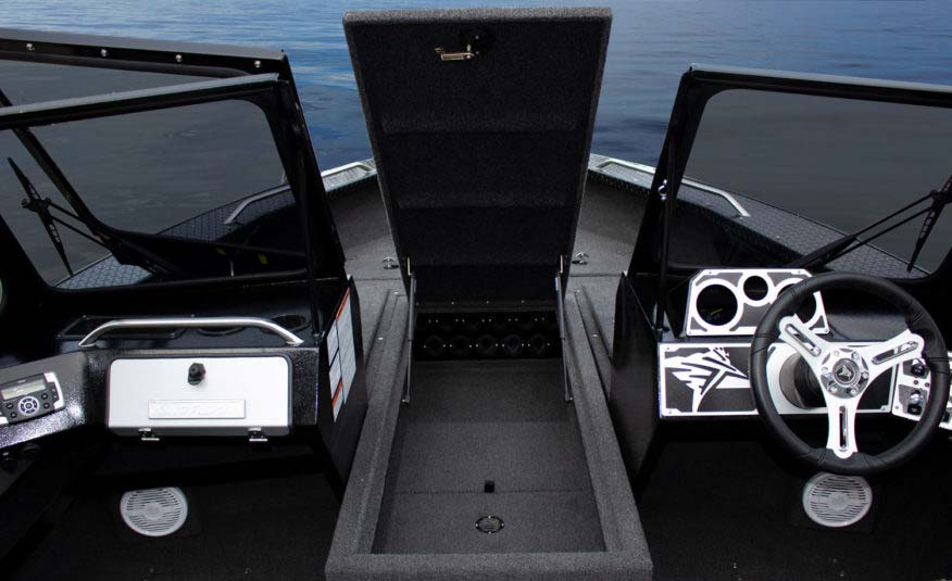"Center bow deck storage for 11 full-sized rods up to 9'3"" in length."