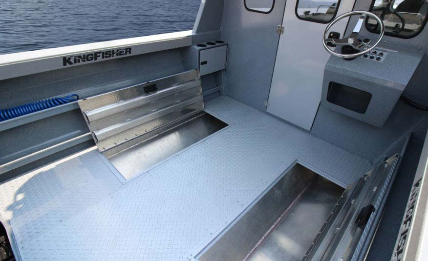 83 USG cockpit fish lockers, optional rear helm, weather proof locking bulkhead door, side access trays with washdown, wide gunnels with gunnel bolster pads