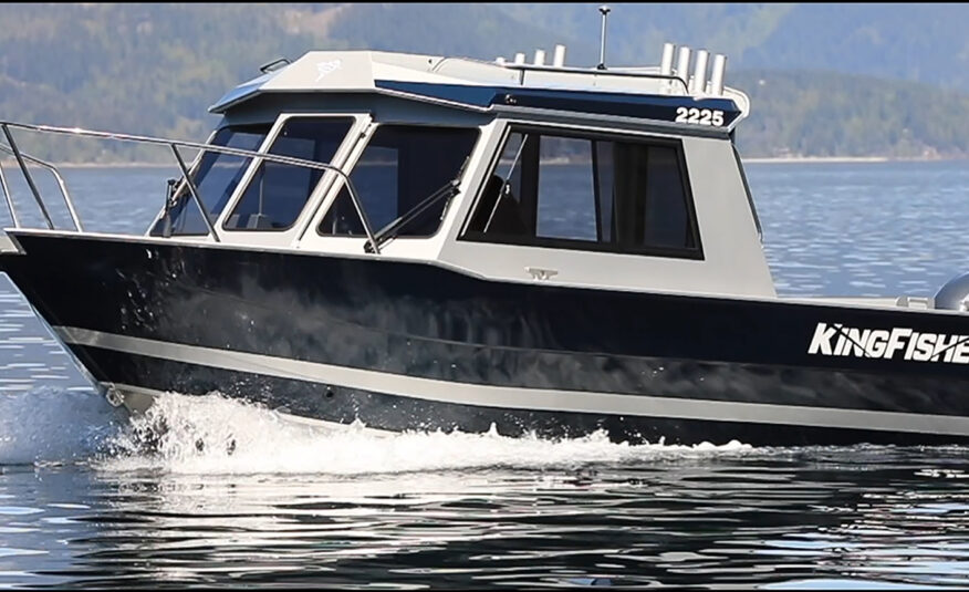 Stainless steel bow rails and rooftop mounted rod holders give this 22-footer the offshore features you need